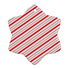 Candy Cane Stripes Snowflake Ornament (two Sides)