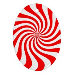 Peppermint Candy Oval Ornament (two Sides)