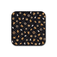 Gingerbread Dark Rubber Coaster (square)