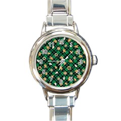 Gingerbread Green Round Italian Charm Watch