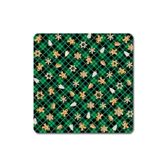 Gingerbread Green Square Magnet