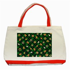 Gingerbread Green Classic Tote Bag (red)