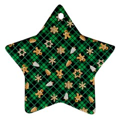 Gingerbread Green Star Ornament (two Sides)