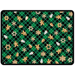 Gingerbread Green Double Sided Fleece Blanket (large)