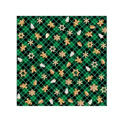 Gingerbread Green Small Satin Scarf (square)