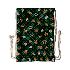 Gingerbread Green Drawstring Bag (small)