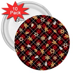 Gingerbread Red 3  Buttons (10 Pack)