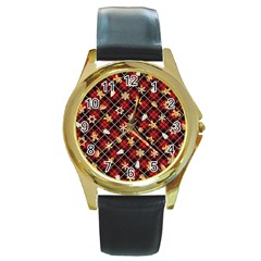 Gingerbread Red Round Gold Metal Watch