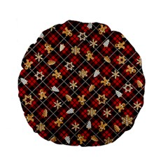 Gingerbread Red Standard 15  Premium Flano Round Cushions