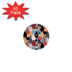 Abstract Diamond Pattern 1  Mini Buttons (10 Pack)