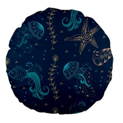 Arabesque Vintage Graphic Nature Large 18  Premium Flano Round Cushions