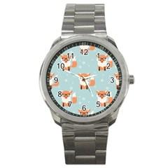 Cute Fox Pattern Sport Metal Watch