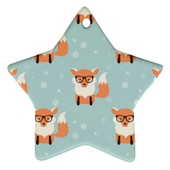 Cute Fox Pattern Star Ornament (two Sides)