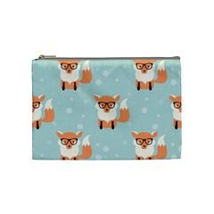 Cute Fox Pattern Cosmetic Bag (medium)