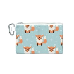 Cute Fox Pattern Canvas Cosmetic Bag (s)
