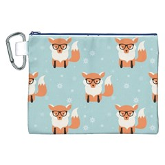 Cute Fox Pattern Canvas Cosmetic Bag (xxl)