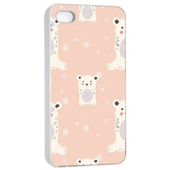 Cute Polar Bear Pattern Apple Iphone 4/4s Seamless Case (white)