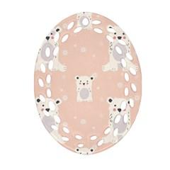 Cute Polar Bear Pattern Ornament (oval Filigree)