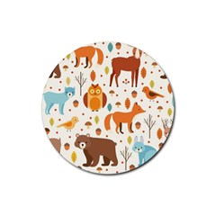 Woodland Friends Pattern Rubber Coaster (round)