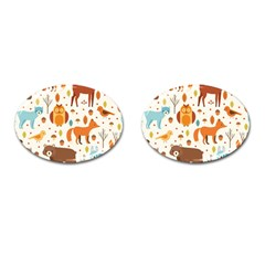 Woodland Friends Pattern Cufflinks (oval)