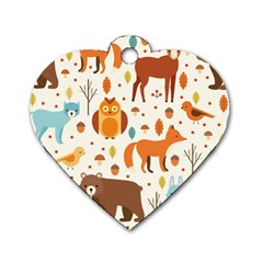 Woodland Friends Pattern Dog Tag Heart (one Side)