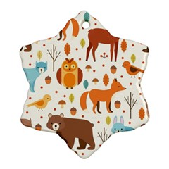 Woodland Friends Pattern Snowflake Ornament (two Sides)