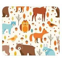 Woodland Friends Pattern Double Sided Flano Blanket (small)