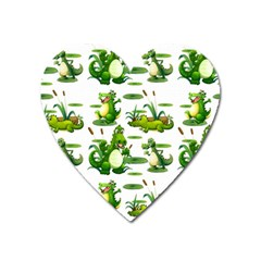 Crocodiles In The Pond Heart Magnet