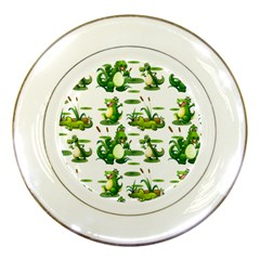 Crocodiles In The Pond Porcelain Plates