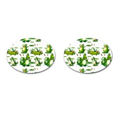 Crocodiles In The Pond Cufflinks (oval)