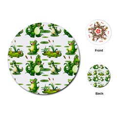 Crocodiles In The Pond Playing Cards (round)
