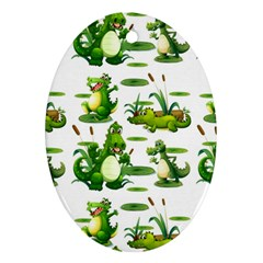 Crocodiles In The Pond Oval Ornament (two Sides)
