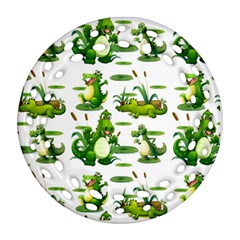Crocodiles In The Pond Round Filigree Ornament (two Sides)