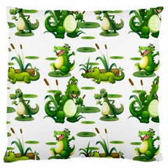 Crocodiles In The Pond Large Cushion Case (one Side)