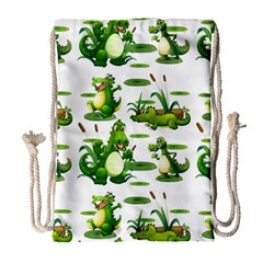 Crocodiles In The Pond Drawstring Bag (large)