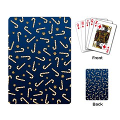 Golden Candycane Blue Playing Card