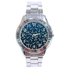 Golden Candycane Blue Stainless Steel Analogue Watch