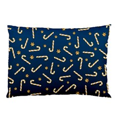 Golden Candycane Blue Pillow Case (two Sides)