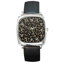 Golden Candycane Dark Square Metal Watch