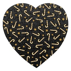 Golden Candycane Dark Jigsaw Puzzle (heart)