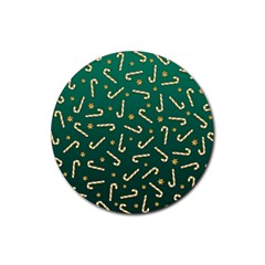 Golden Candycane Green Rubber Round Coaster (4 Pack)