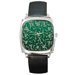 Golden Candycane Green Square Metal Watch