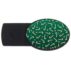 Golden Candycane Green Usb Flash Drive Oval (4 Gb)