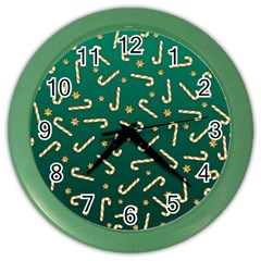 Golden Candycane Green Color Wall Clocks