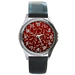 Golden Candycane Red Round Metal Watch Front