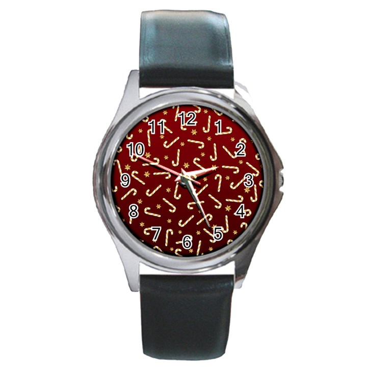 Golden Candycane Red Round Metal Watch