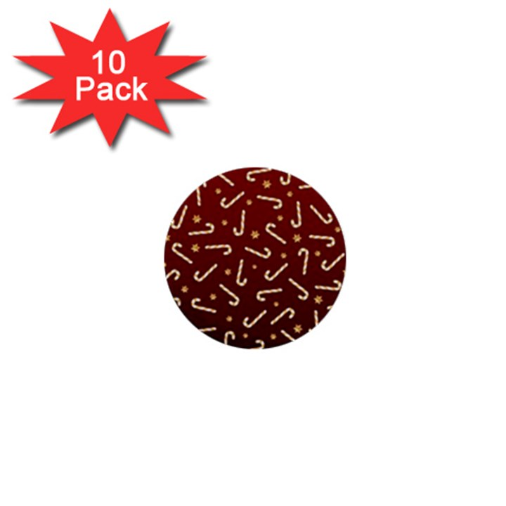 Golden Candycane Red 1  Mini Buttons (10 pack)