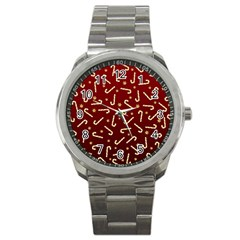 Golden Candycane Red Sport Metal Watch
