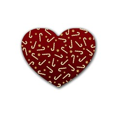 Golden Candycane Red Rubber Coaster (heart)