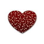 Golden Candycane Red Rubber Coaster (Heart)  Front